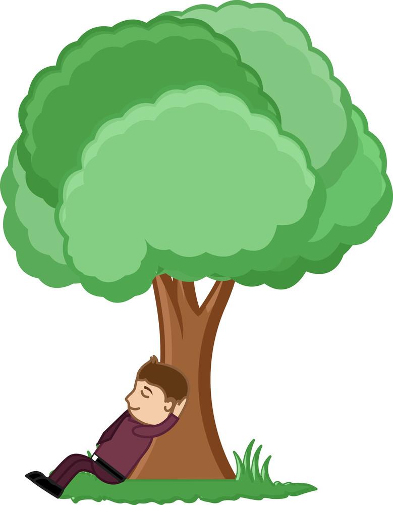 Man Taking Rest Under A Tree - Cartoon Vector Illusatrtion