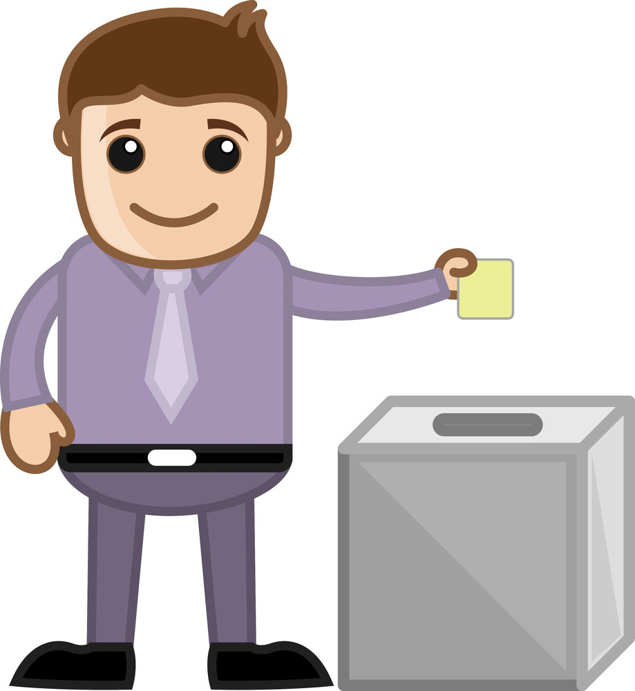 Man Voting - Business Cartoon Character Vector