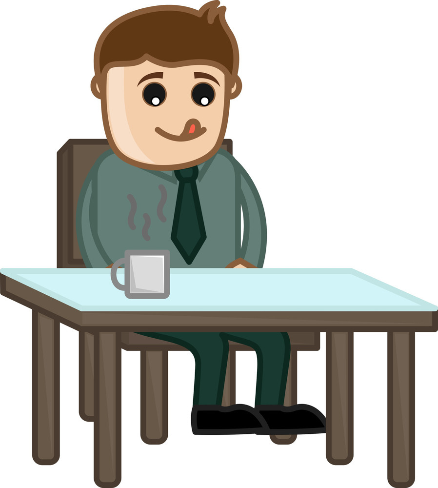 Man Waiting For Food - Cartoon Business Vector Character