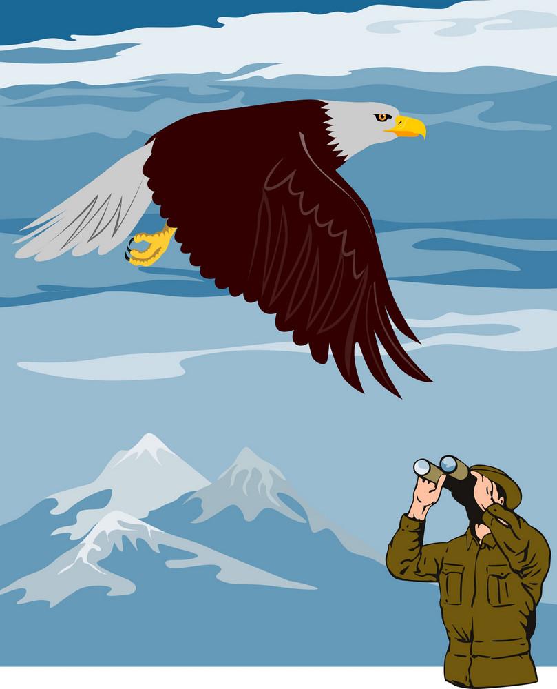 Man Watching Eagle