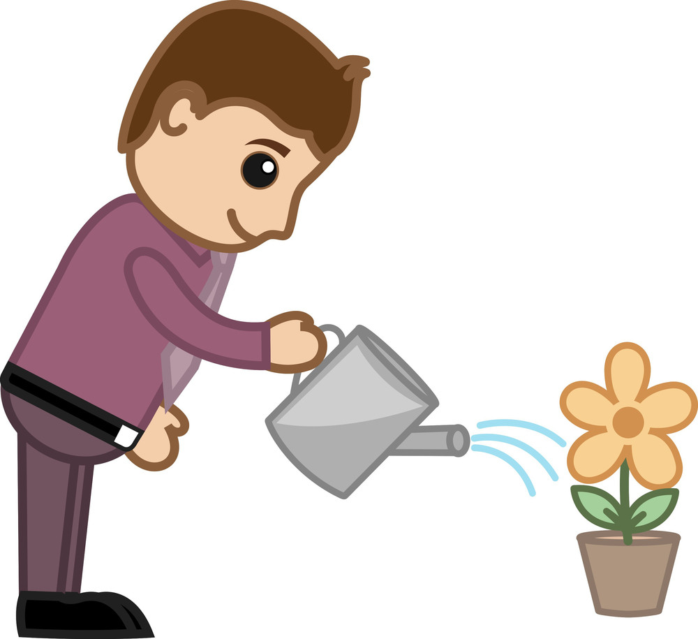 Man Watering Flower Plant - Business Cartoon Character Vector