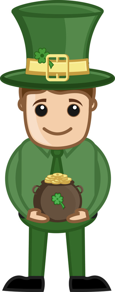 Man Wearing Green In Office For St. Patrick's Day - Cartoon Business Characters
