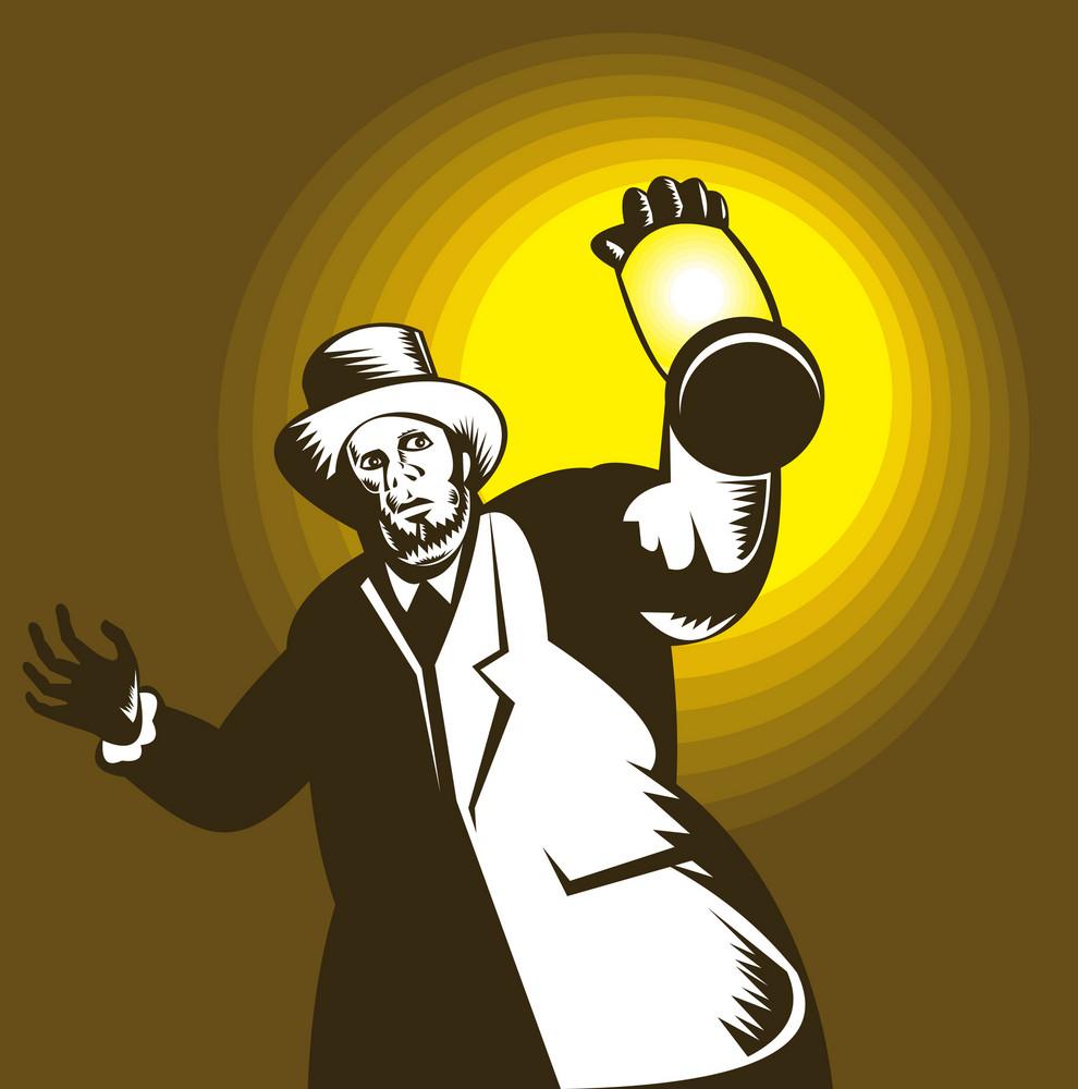 Man Wearing Top Hat And Holding Lantern