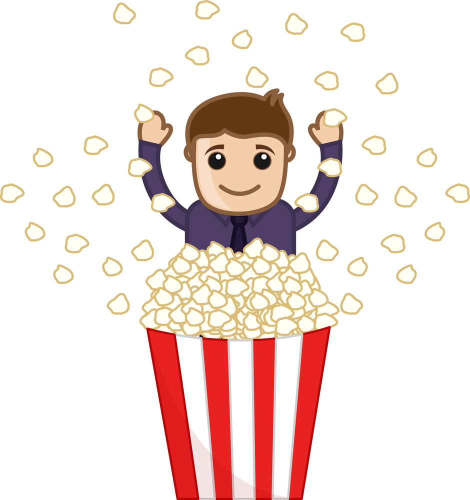 Man With Butter Popcorn - Cartoon Business Vector Character