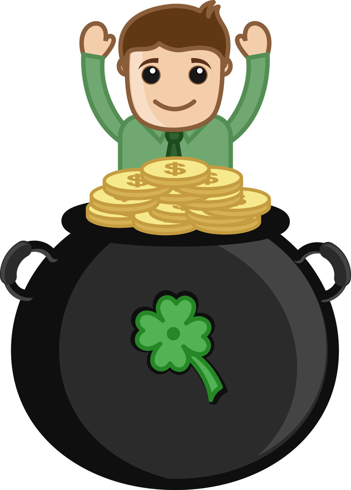 Man With Cauldron On Patrick's Day - Cartoon Business Characters