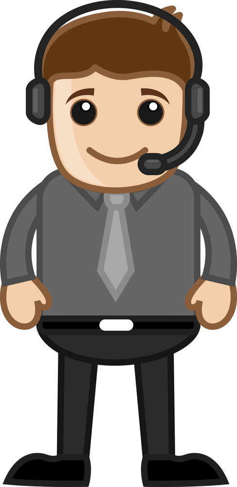 Man With Headphone - Helpline Concept -  Vector Illustration