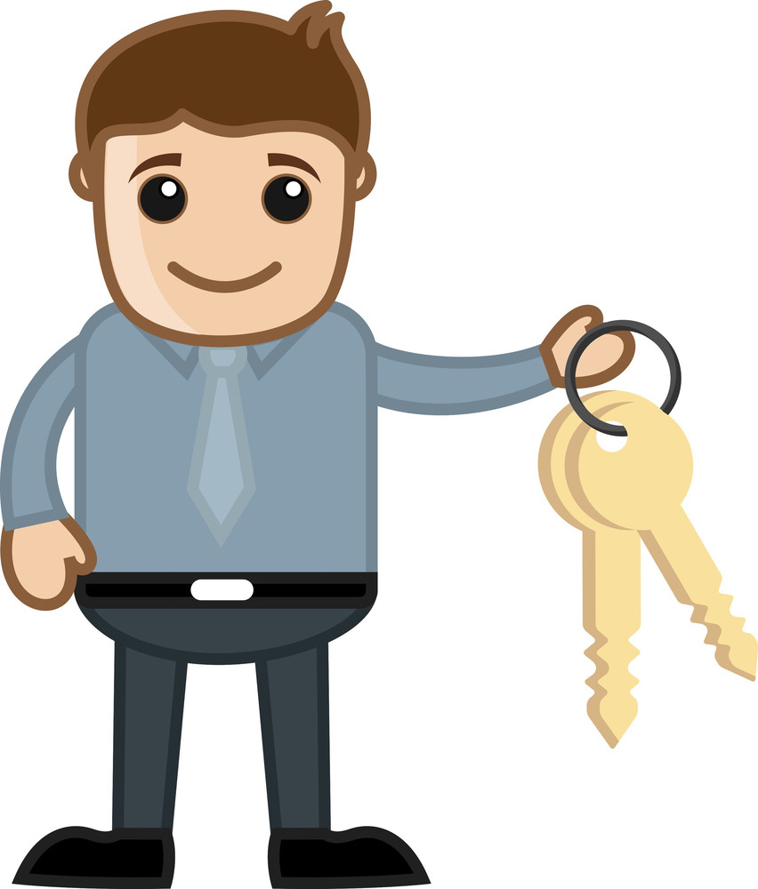 Man With Keys - Real Estate - Vehicle Loan Concept - Business Cartoon Character Vector