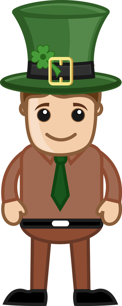 Man With Leprechaun Hat On Patrick's Day - Cartoon Business Characters