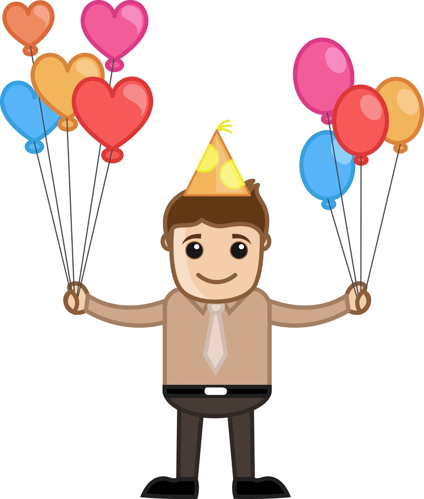 Man With Lots Of Balloons - Cartoon Business Character