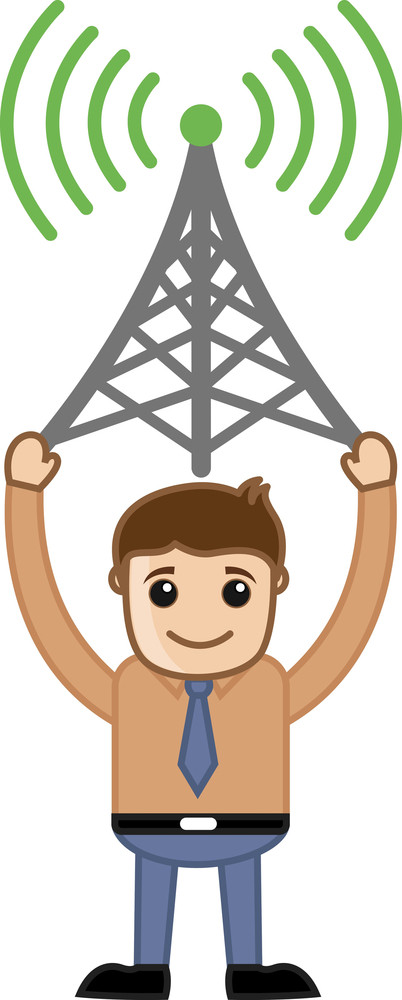Man With Network Antina - Vector Illustration