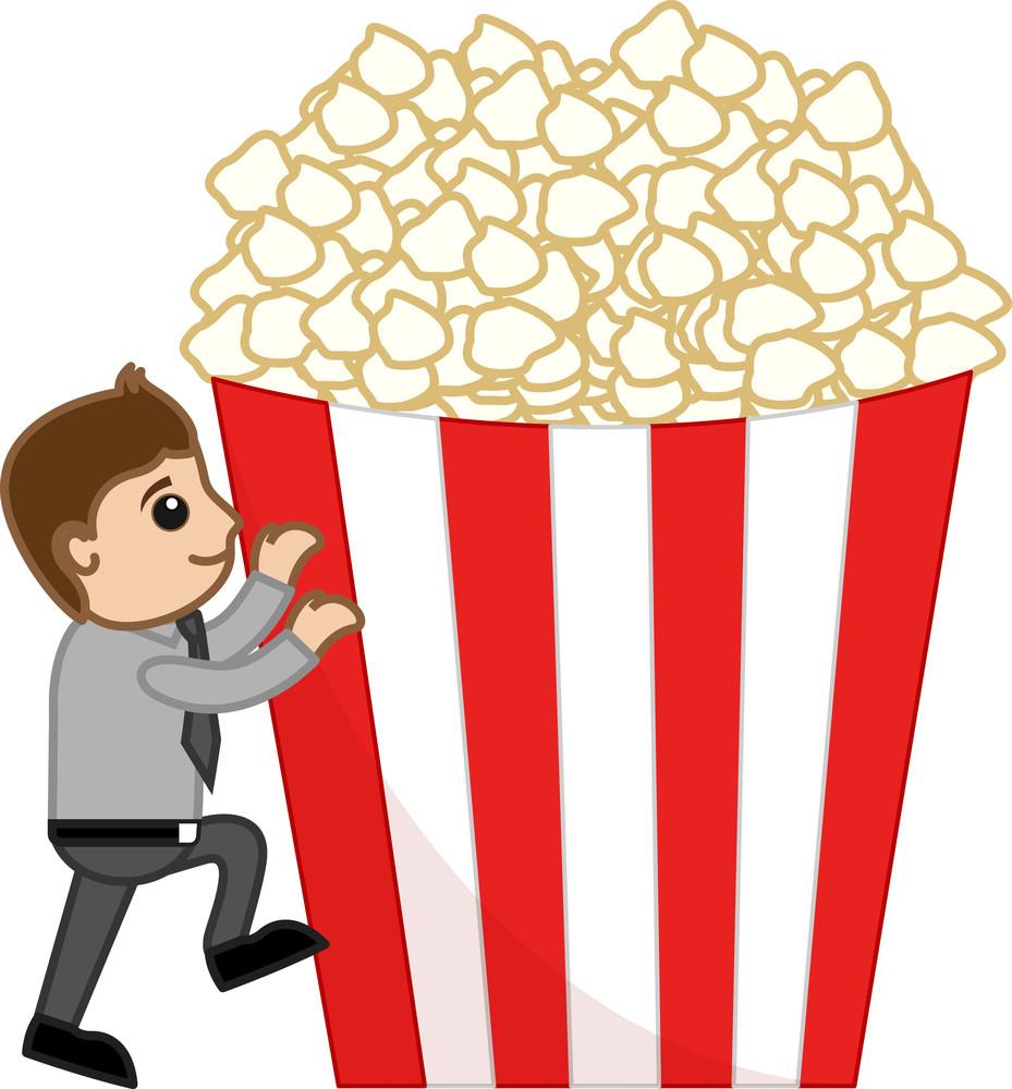 Man With Popcorns - Cartoon Business Vector Character