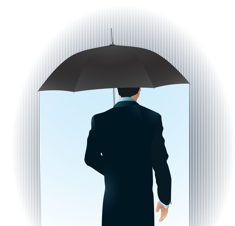 Man With Umbrella. Security Vector Abstract.