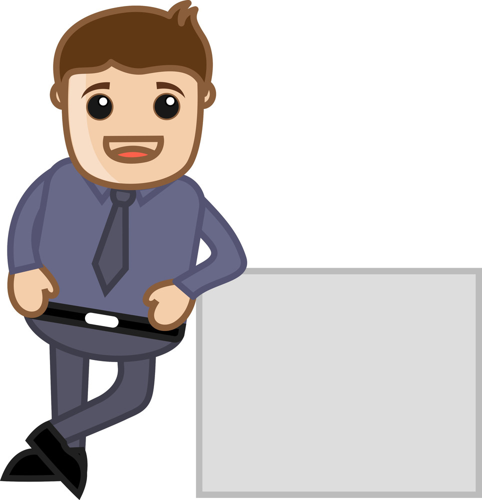 Man With White Banner - Business Cartoon Character Vector