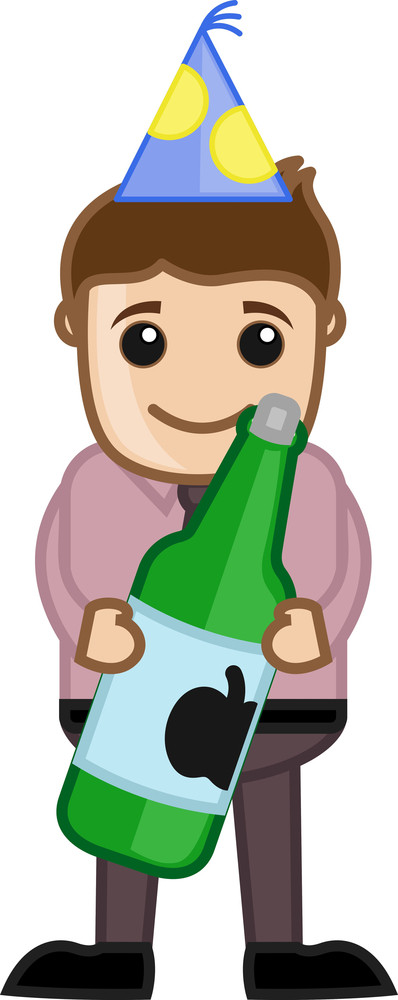 Man With Wine On Party - Cartoon Business Characters