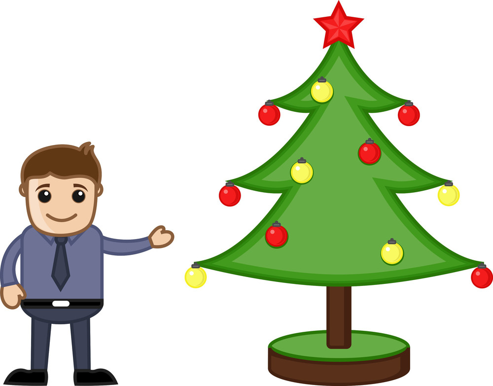 Man With Xmas Tree On Christmas - Cartoon Business Characters