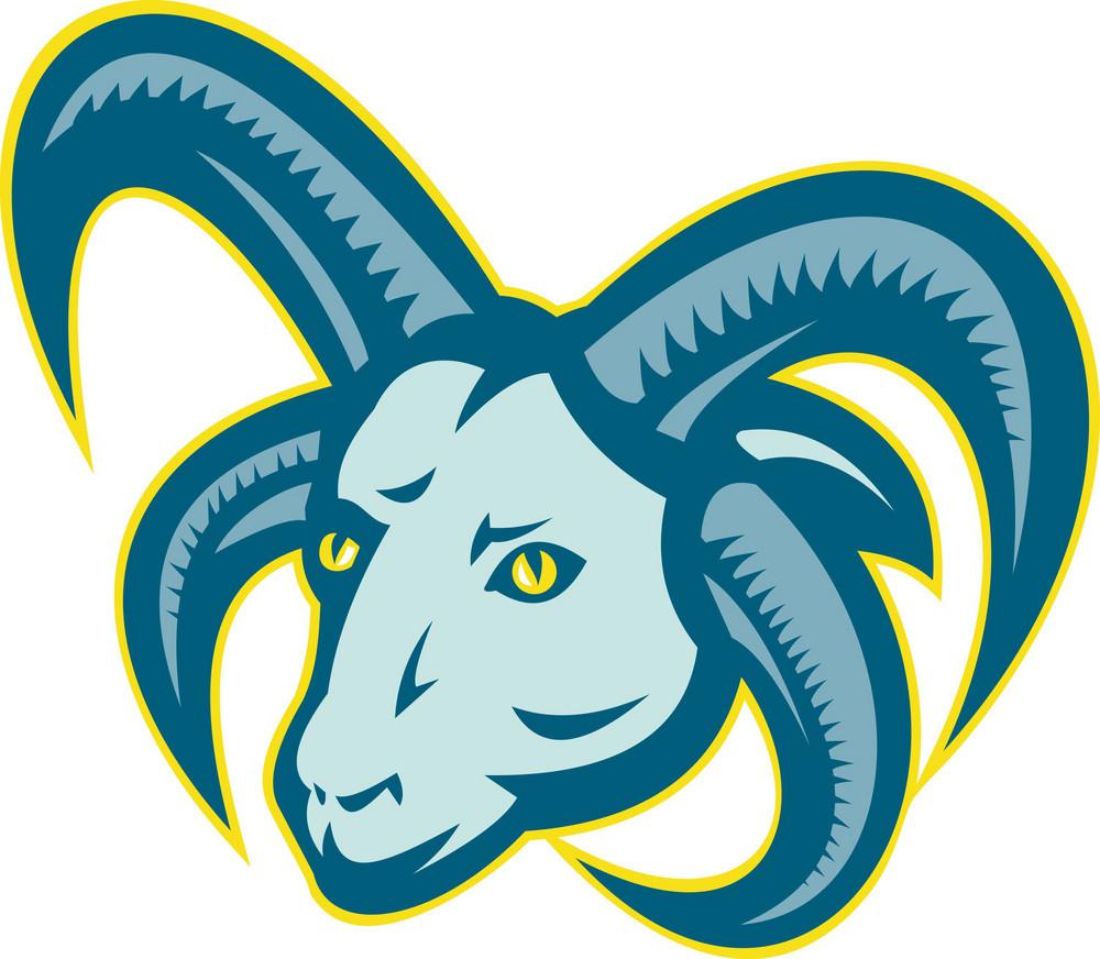Manx Loaghtan Sheep Ram Head Mascot