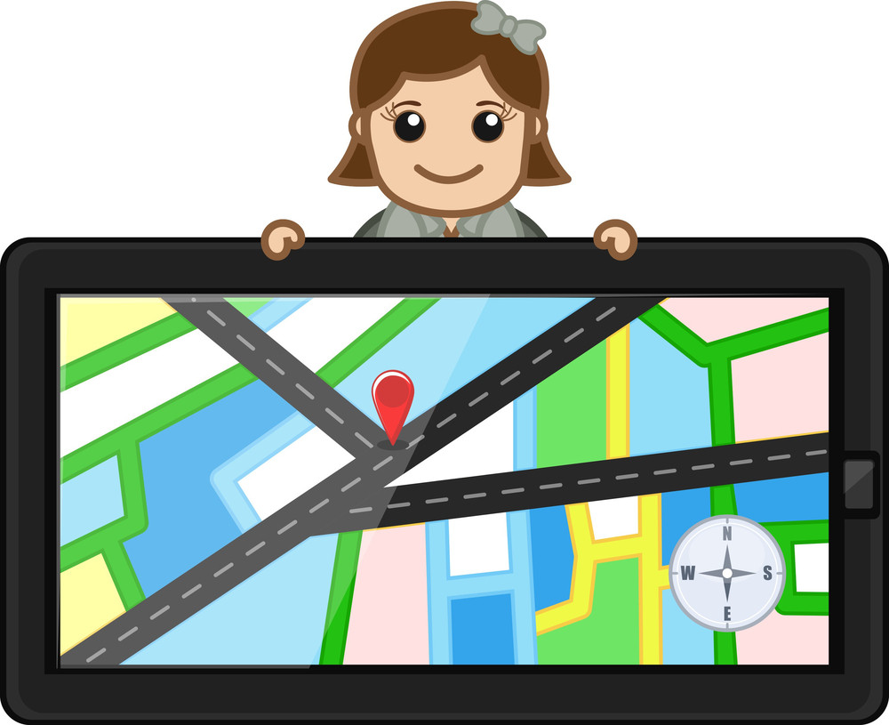 Map In Gps Device - Vector Cartoon