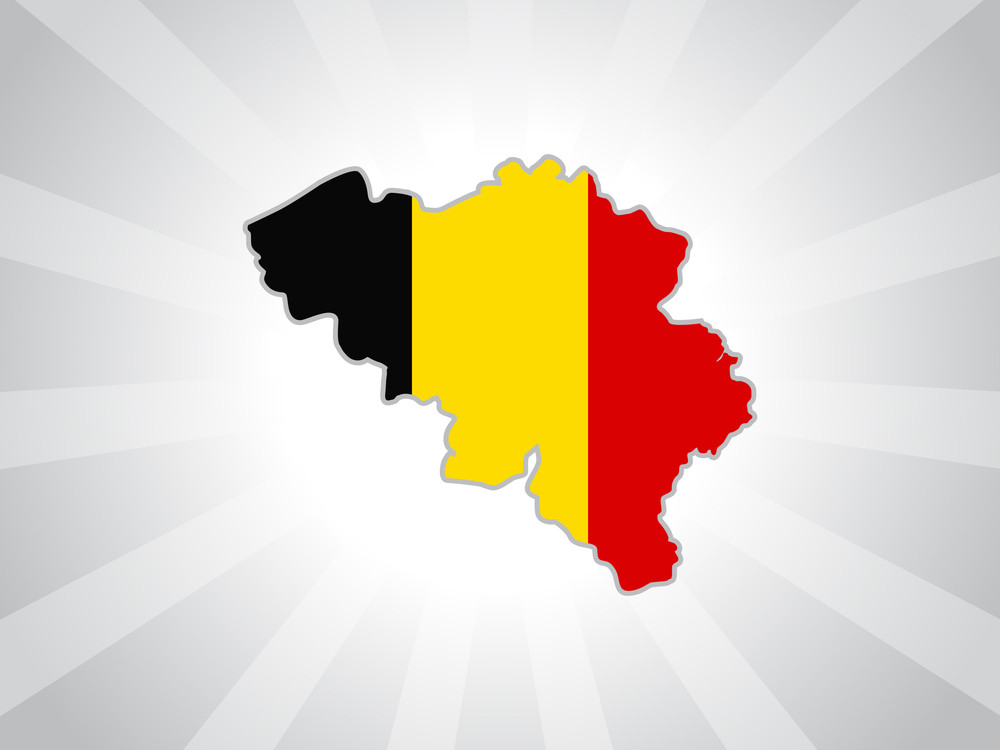 Map Of Belgium With Their Flag Illustration