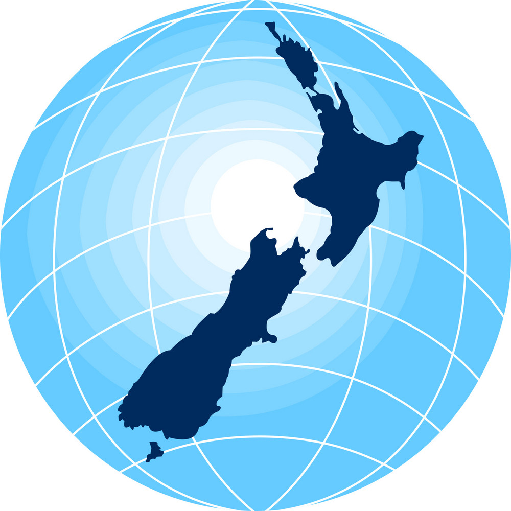 Map Of New Zealand With Globe In Background
