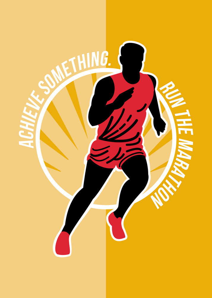 Marathon Achieve Something Poster Retro