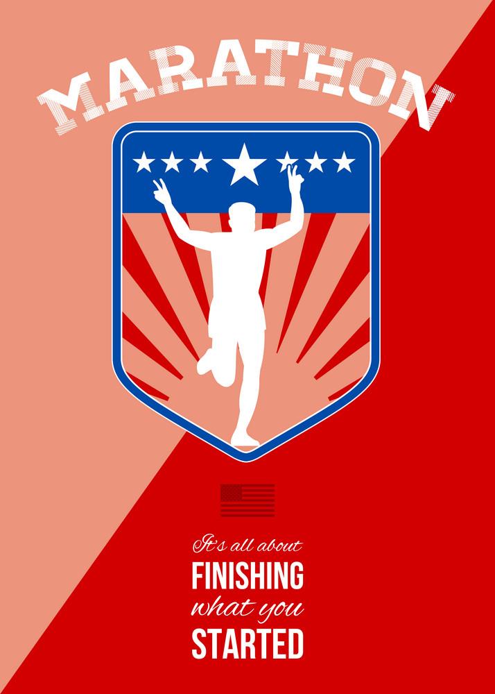 Marathon Runner Finish Run Poster