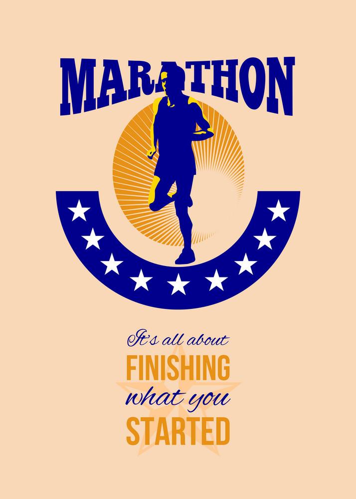 Marathon Runner Finishing Retro Poster