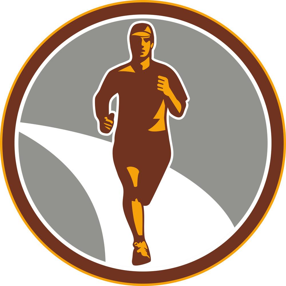 Marathon Runner Front Circle Retro