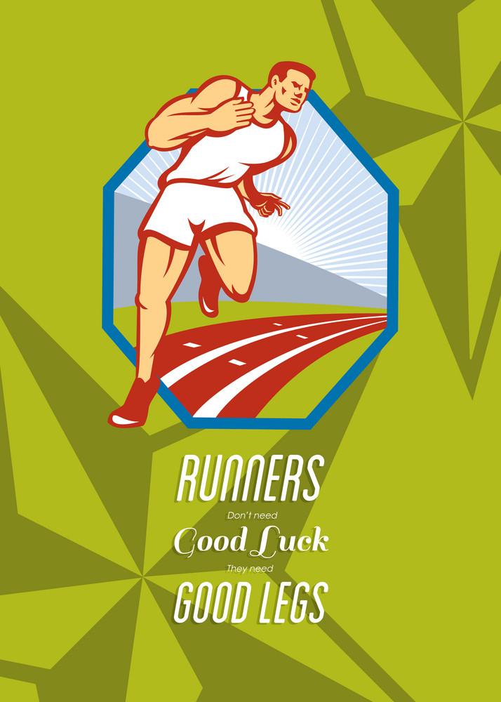 Marathon Runner Race Track Retro Poster