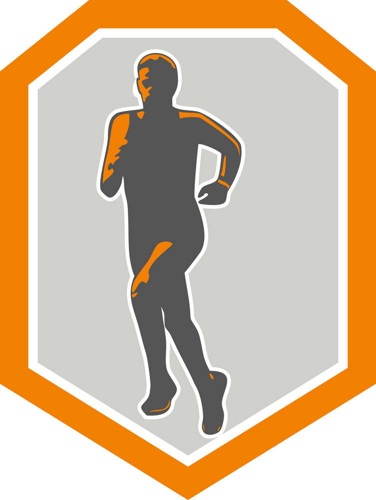 Marathon Runner Running Front Shield Retro