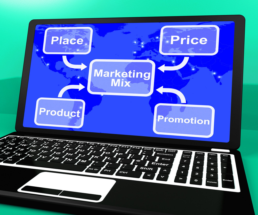 Marketing Mix On Laptop With Price Product And Promotion