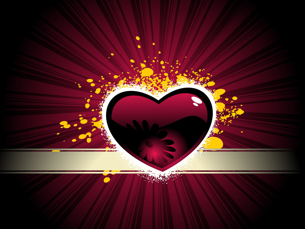Maroon Heart With Rays Background
