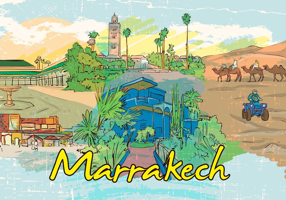 Marrakech Doodles Vector Illustration