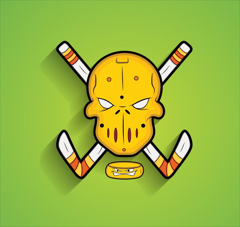 Mask With Ice Hockey Sticks Vector