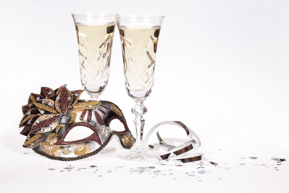 Masquerade Mask And Champagne