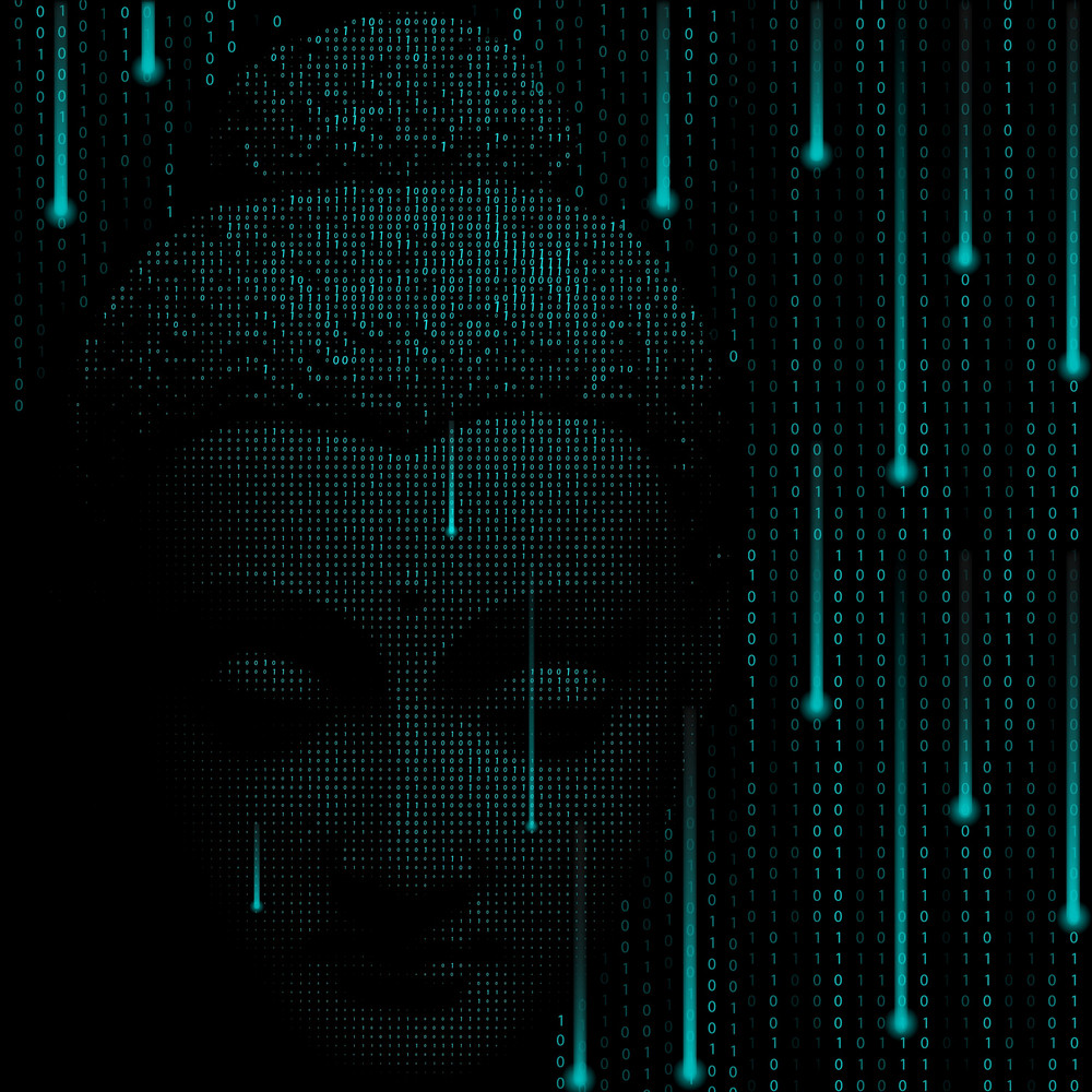Matrix Background With Face Buddha
