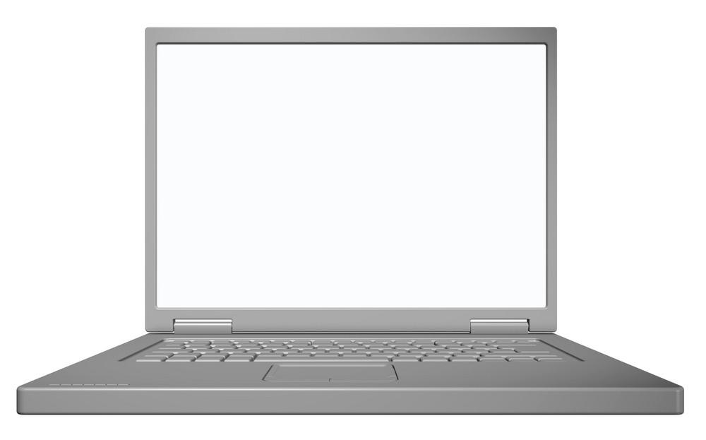 Matt Grey Laptop Isolated On White.