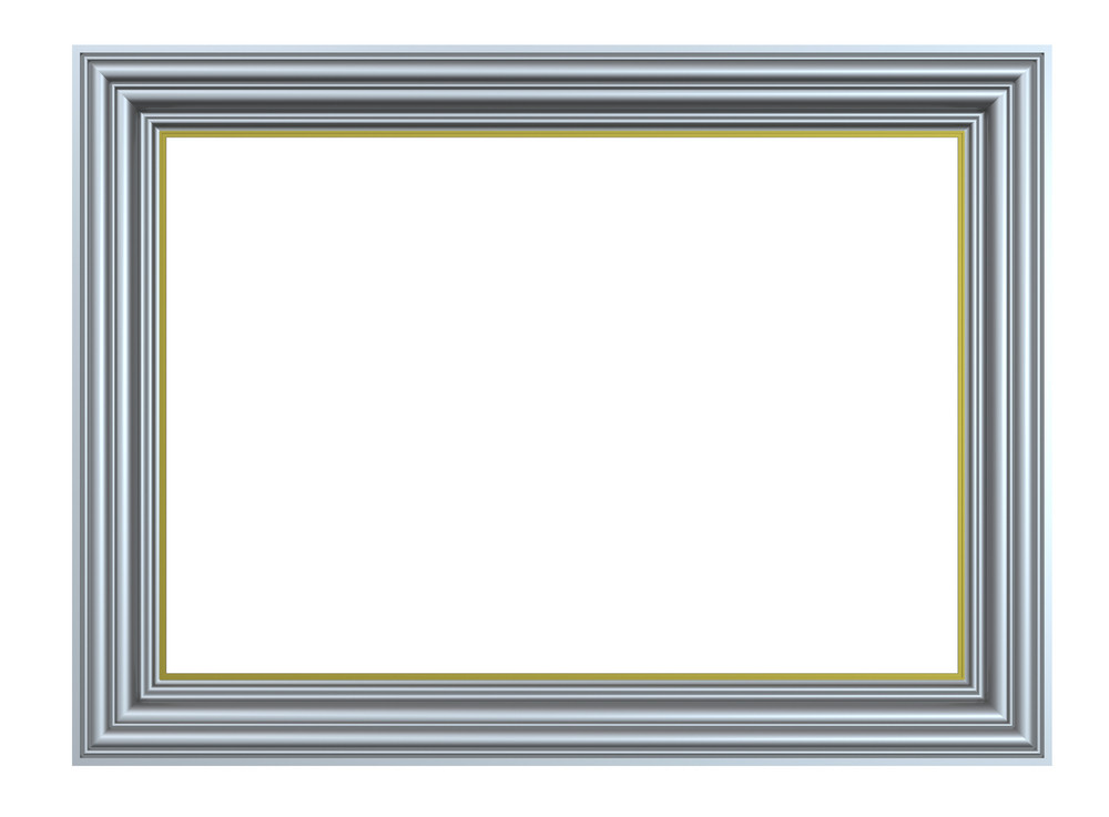 Matt Silver Rectangular Frame Isolated On White Background.