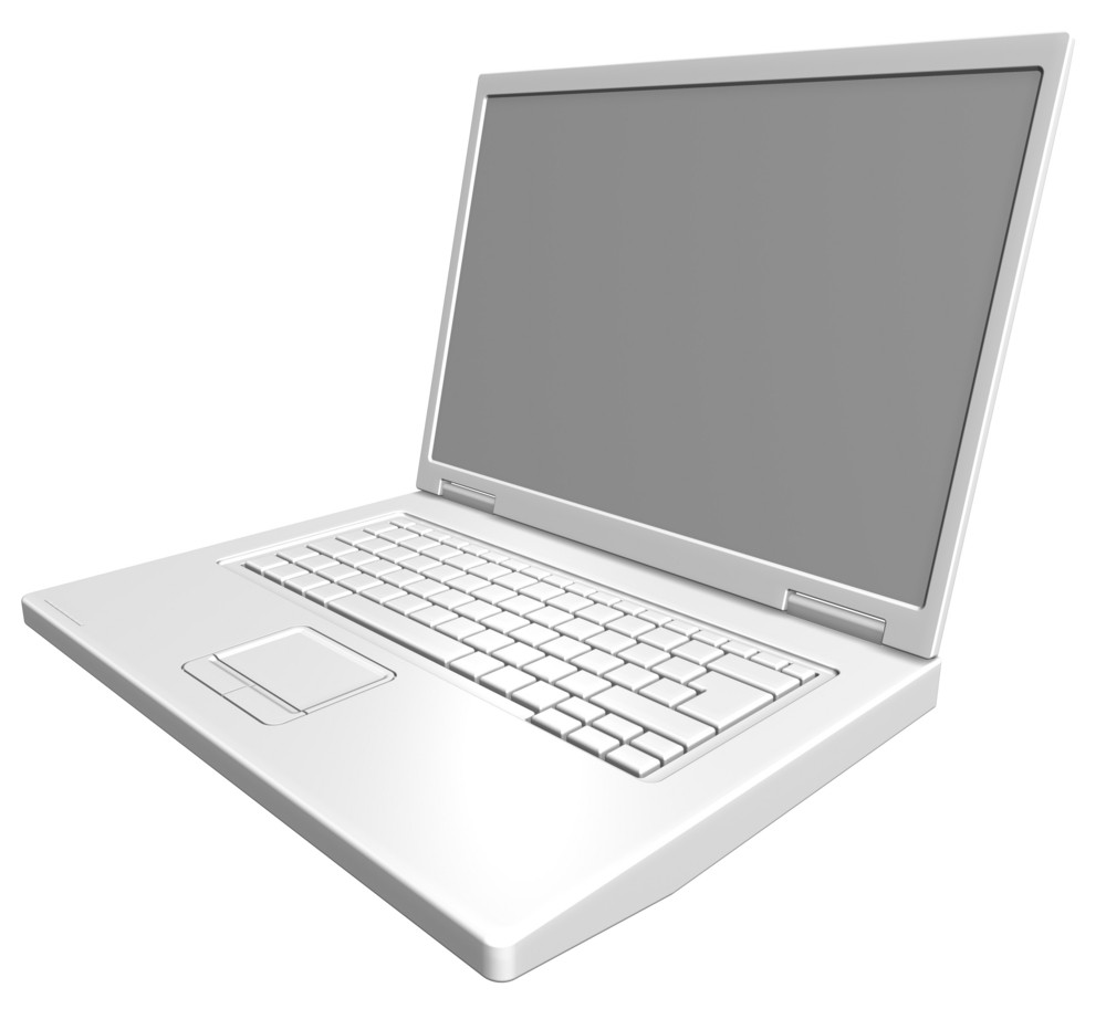 Matt White Laptop Isolated On White.