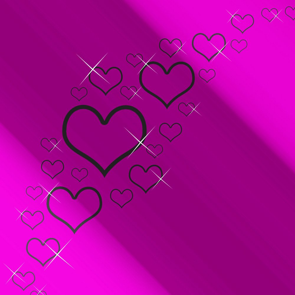 Mauve And Silver Hearts Background With Copyspace Showing Love Romance And Valentines