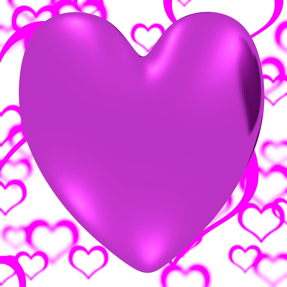Mauve Heart On A Herats Background Showing Love Romance And Valentines Day