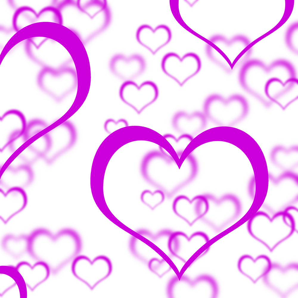 Mauve Hearts Background Showing Love Romance And Valentines