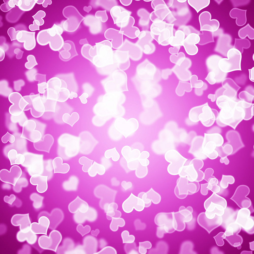 Mauve Hearts Bokeh Background Showing Love Romance And Valentines