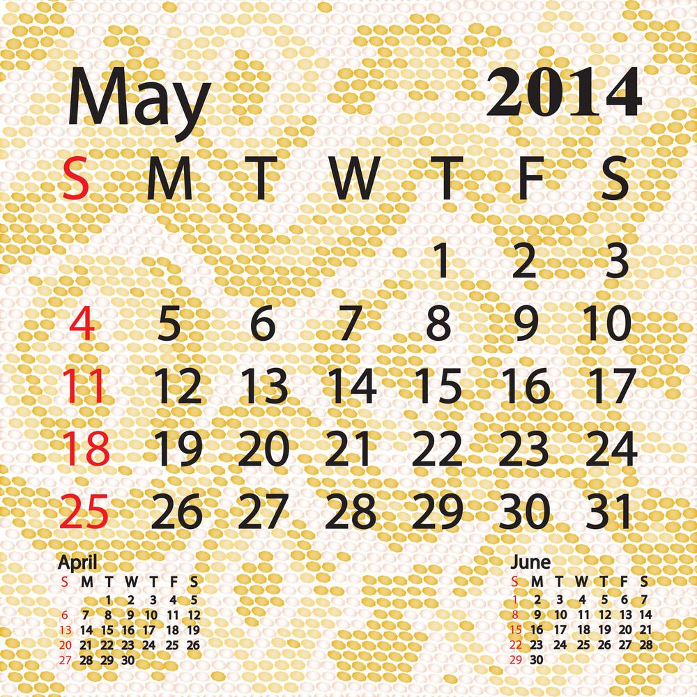 May 2014 Calendar Albino Snake Skin