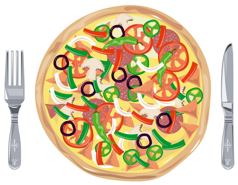 Meat Pizza Pie Retro