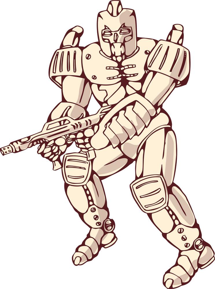 Mecha Robot Warrior With Ray Gun