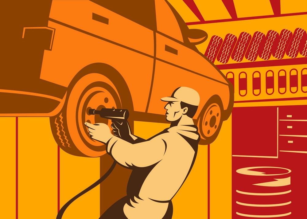 Mechanic Automotive Repairman Retro