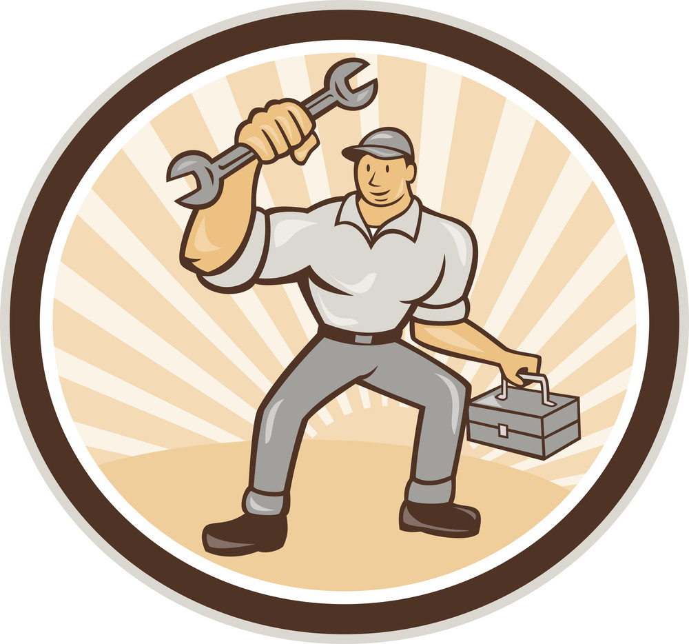 Mechanic Holding Spanner Wrench Toolbox Cartoon