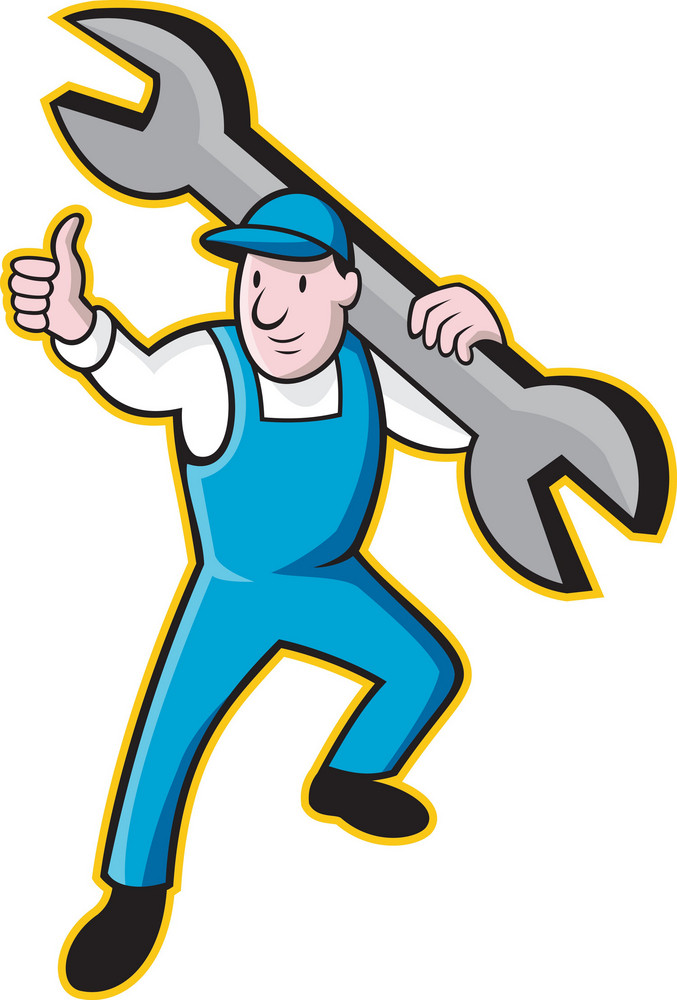 Mechanic With Spanner Thumbs Up