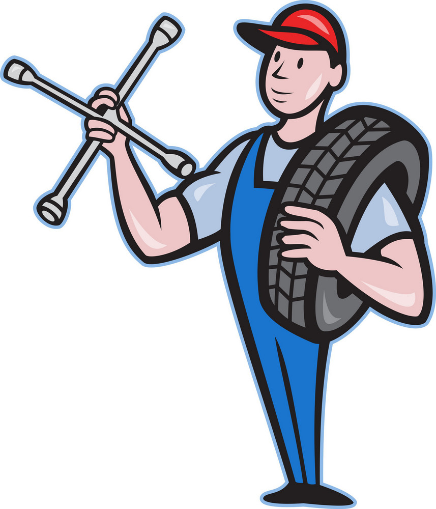 Mechanic With Tire Socket Wrench And Tire