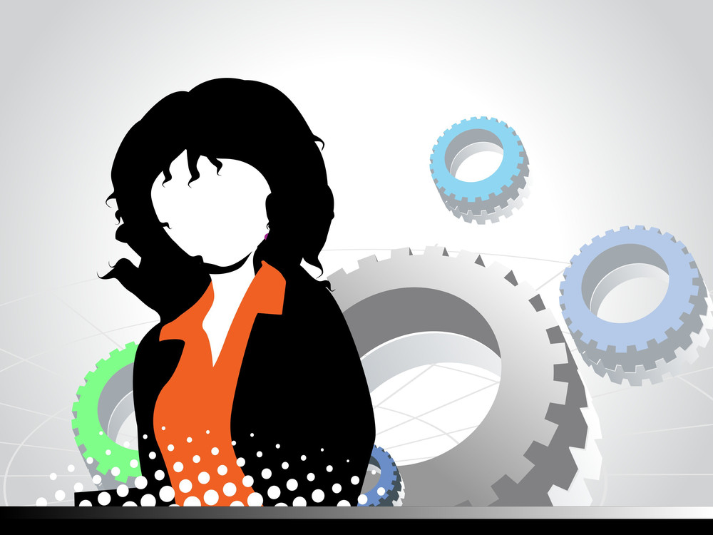 Mechanical Gears Background With Businesswomen